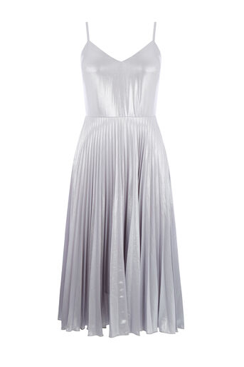 Warehouse, FOIL PLEATED DRESS Silver Colour 0