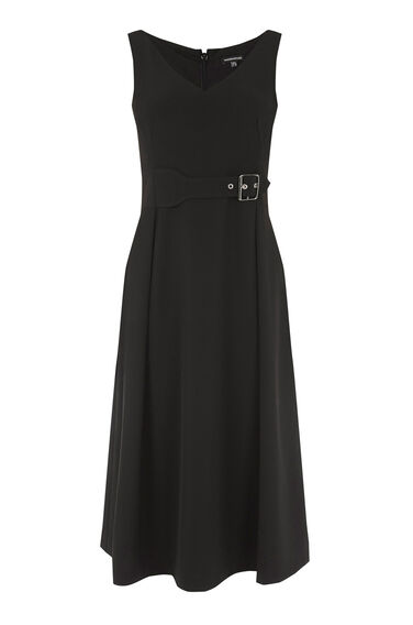Warehouse, BUCKLE DETAIL DRESS Black 0