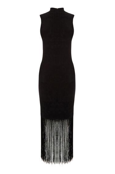 Warehouse, FRINGE HEM KNIT DRESS Black 0