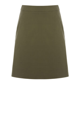 Warehouse, COMPACT COTTON SKIRT Khaki 0