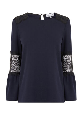 Warehouse, LACE INSERT CREPE TOP Navy 0