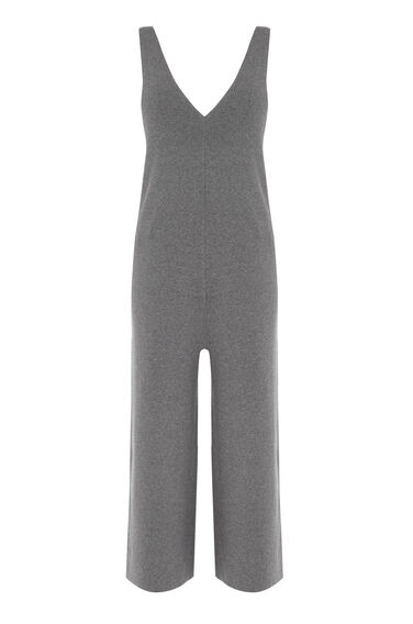 Warehouse, KNITTED DUNGAREE JUMPSUIT Dark Grey 0