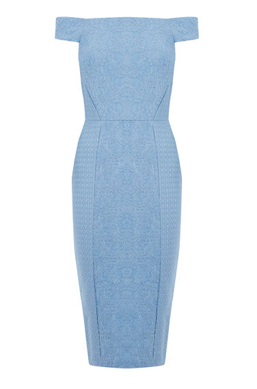 Warehouse, Bardot Lace Dress Light Blue 0