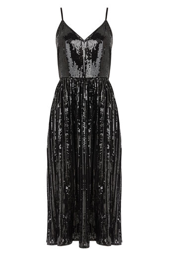 Warehouse, PLEATED SEQUIN CAMI DRESS Black 0