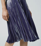 Warehouse, PLEATED FOIL SKIRT Silver Colour 4
