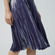 Warehouse, PLEATED LAMÉ SKIRT Silver Colour 4