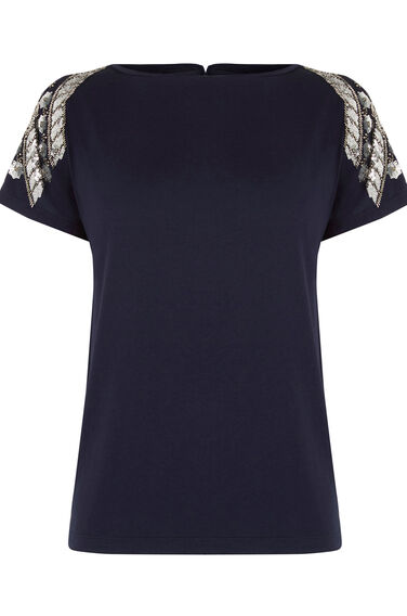Warehouse, EMBELLISHED TEE Navy 0