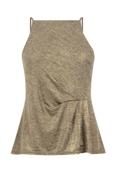 Warehouse, WRAP FRONT METALLIC TOP Gold Colour 0