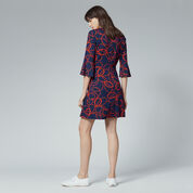 Warehouse, ROPE PRINT PONTE DRESS Red Pattern 3