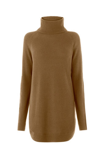 Warehouse, RIB CURVE HEM COWL NECK JUMPER Mustard 0