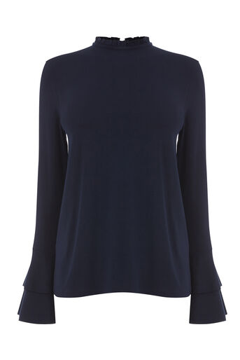 Warehouse, TIERED SLEEVE TOP Navy 0