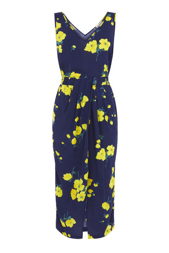 Warehouse, DELIA FLOWER SLEEVELESS DRESS Blue Pattern 0