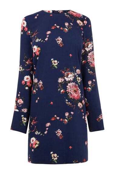 Warehouse, PAINTED FLORAL SHIFT DRESS Blue Pattern 0