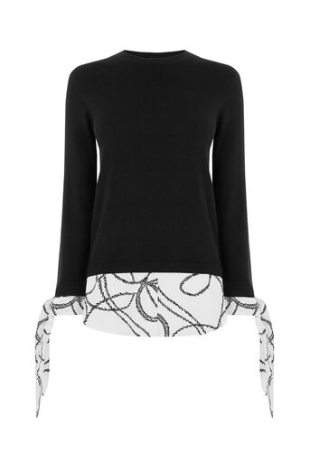 Warehouse, ROPE PRINT BOW CUFF JUMPER Black 0