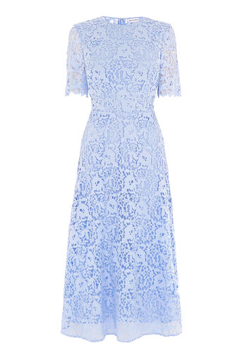 Warehouse, PREMIUM LACE SLEEVE DRESS Light Blue 0