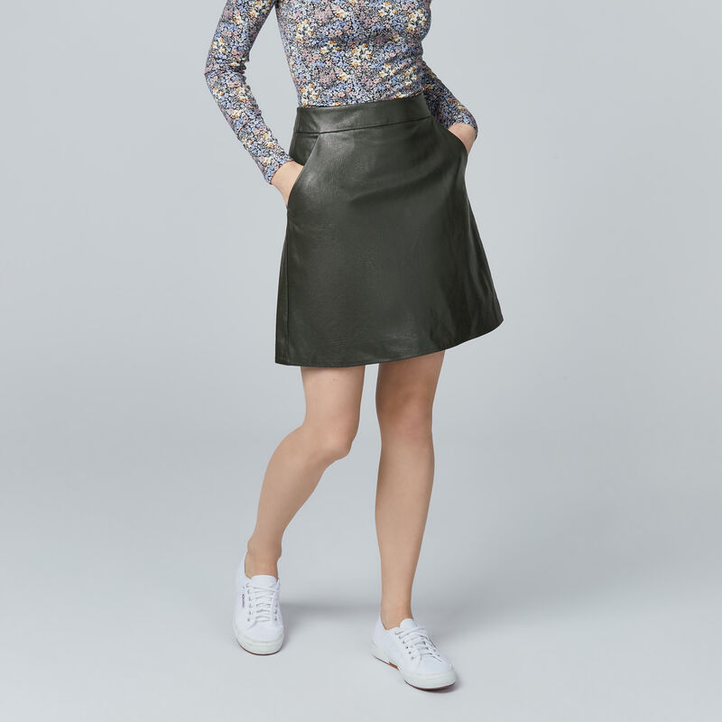 Warehouse, Faux Leather Pelmet Skirt Khaki 1