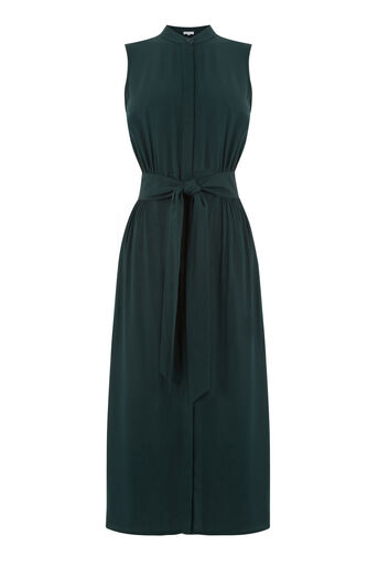Warehouse, OPEN BACK SLEEVELESS DRESS Dark Green 0