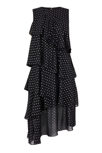 Warehouse, FOIL SPOT RUFFLE DRESS Black Pattern 0