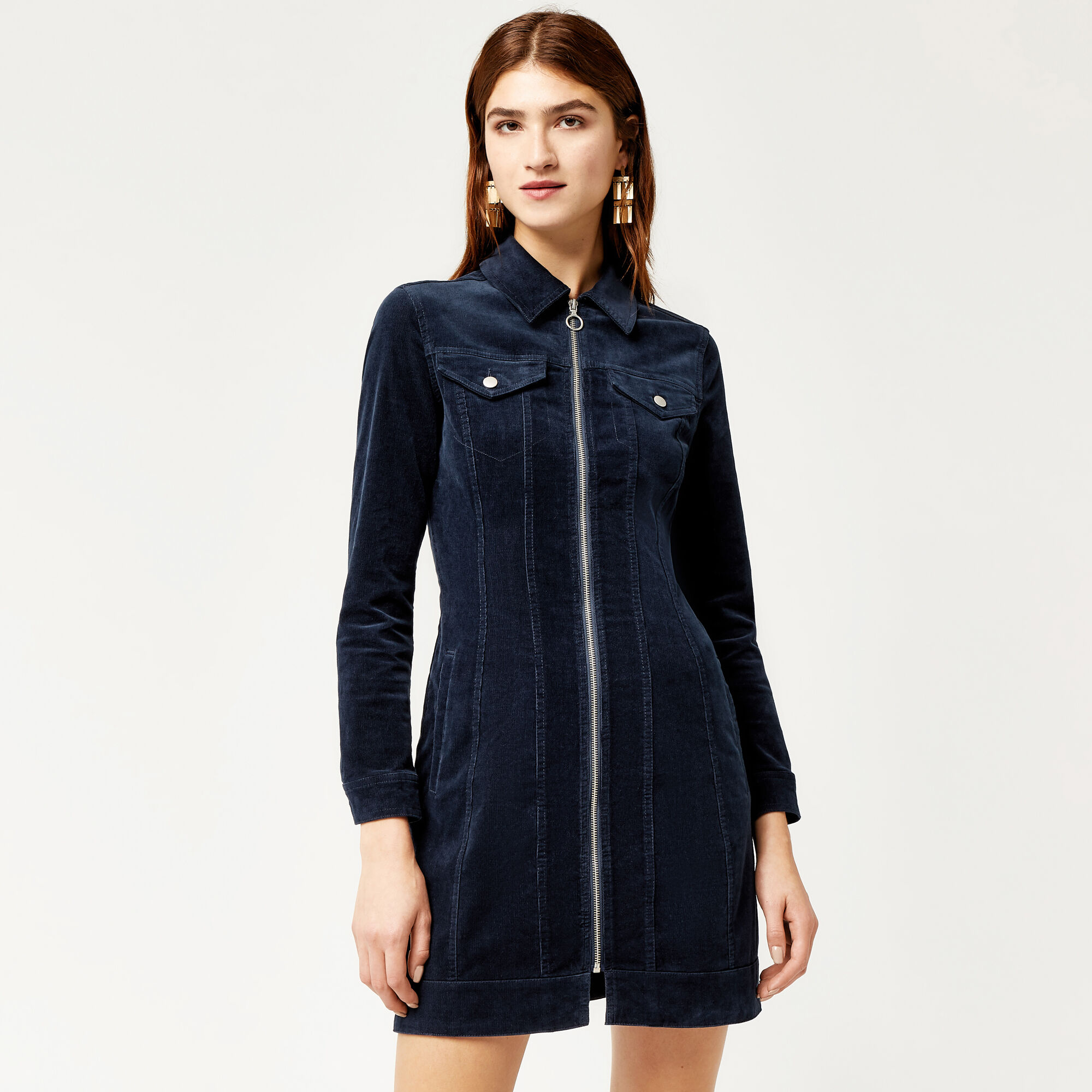 Warehouse, CORD DRESS Navy 1