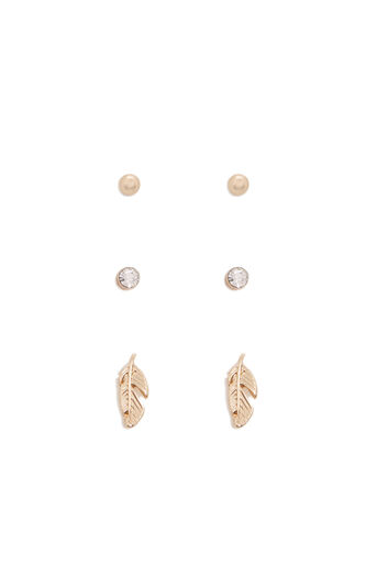 Warehouse, FEATHER STUD EARRING PACK Gold Colour 0
