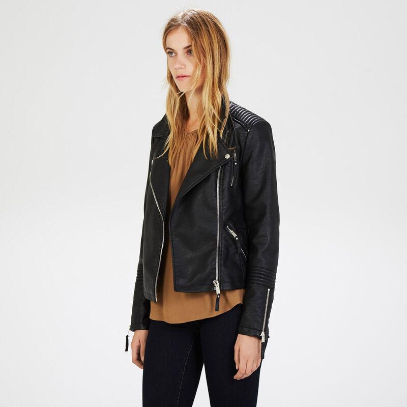 Warehouse, Faux Leather Biker Jacket Black 1