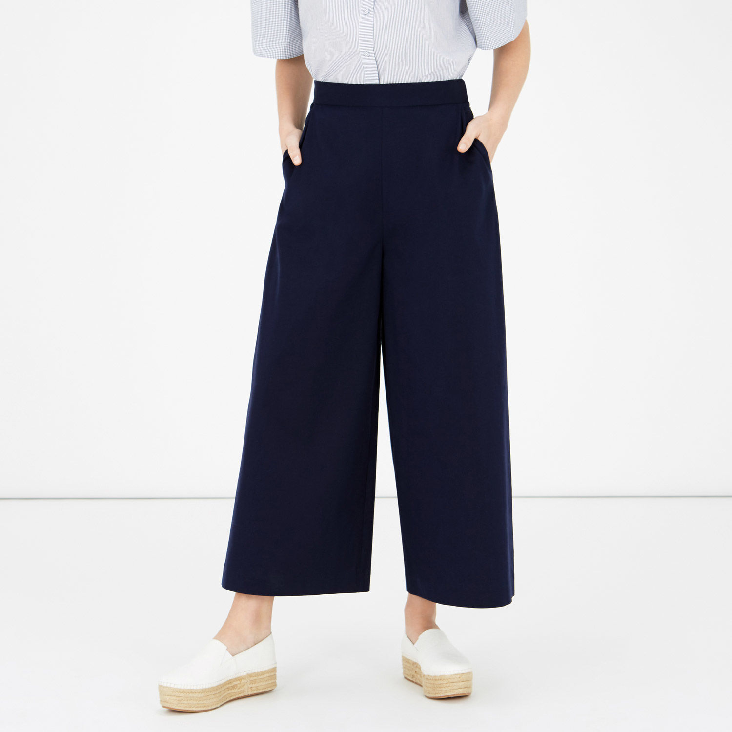Warehouse, CROPPED WIDE LEG TROUSERS Navy 1