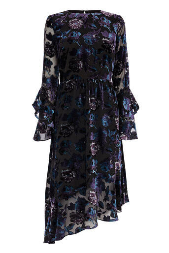 Warehouse, FLORAL DEVORE DRESS Multi 0