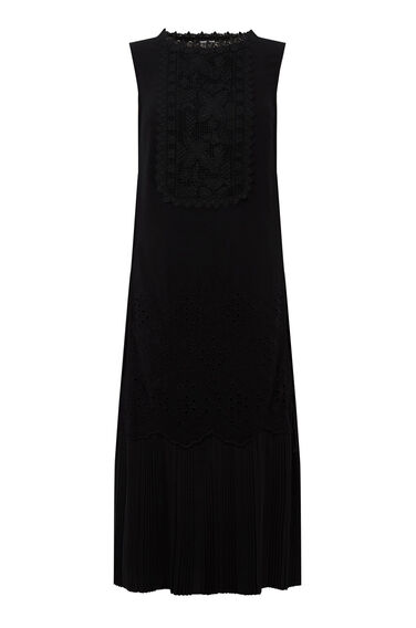 Warehouse, LACE TABARD DRESS Black 0