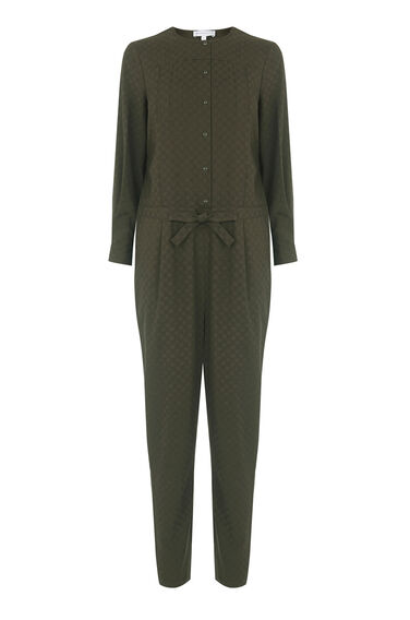 Warehouse, Jacquard Pleat Front Jumpsuit Khaki 0