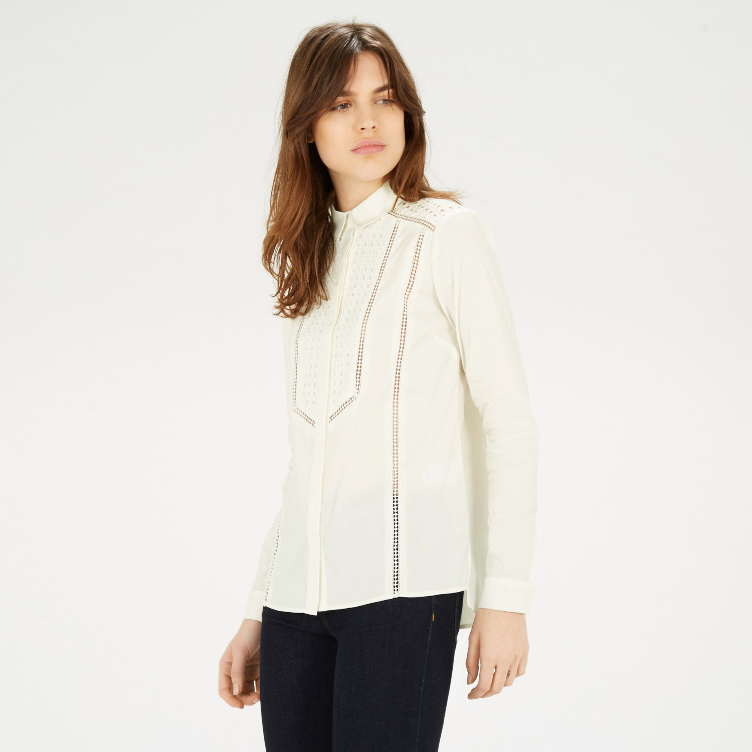 Warehouse, Broderie Mix Shirt White 1