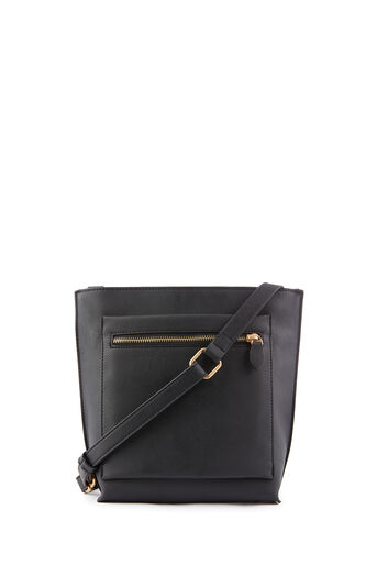 Warehouse, DOUBLE ZIP CROSSBODY BAG Black 0