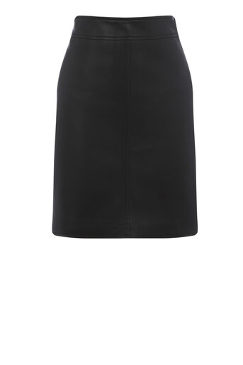 Warehouse, Faux Leather A Line Skirt Black 0