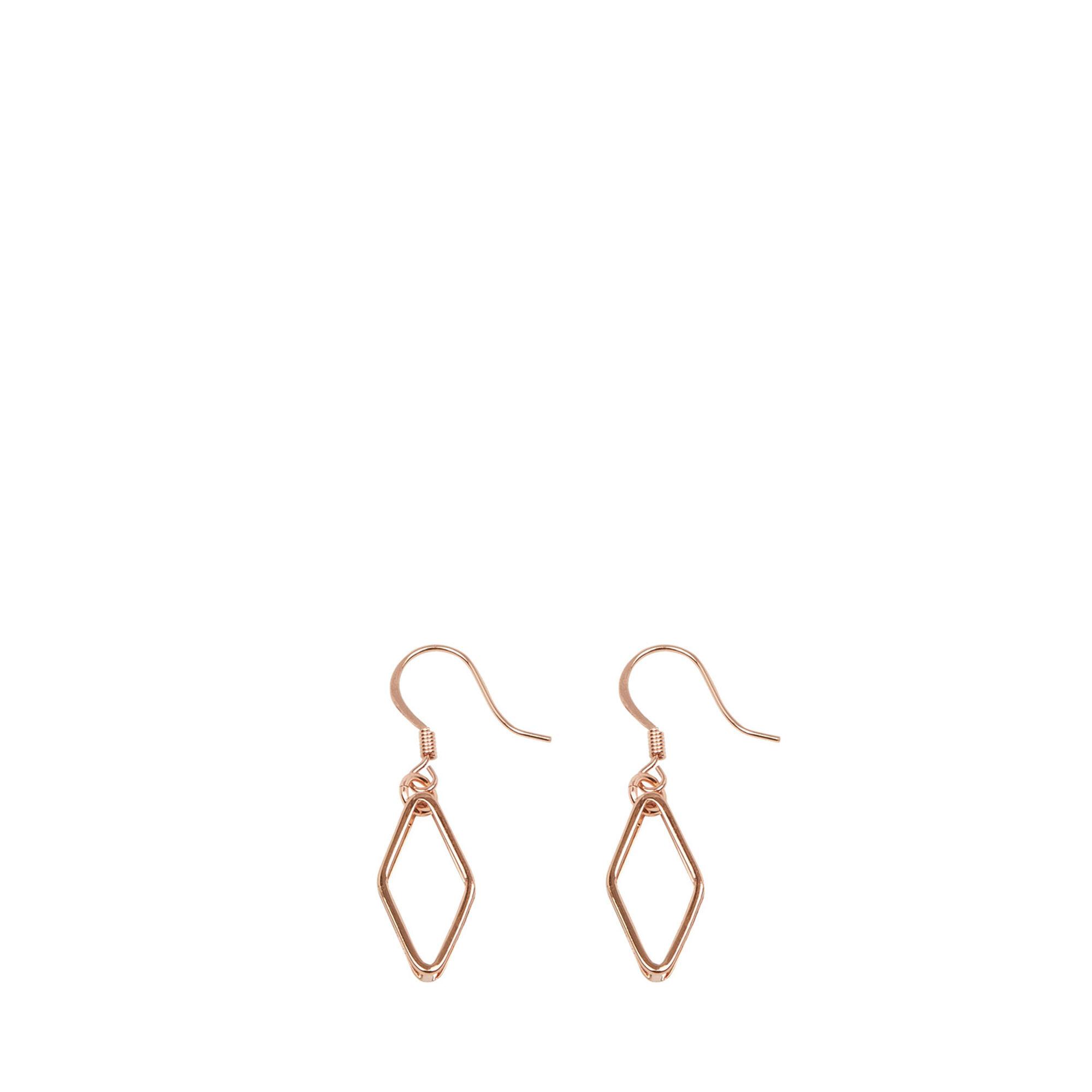 Warehouse, GEO DIAMOND EARRINGS Copper Colour 1