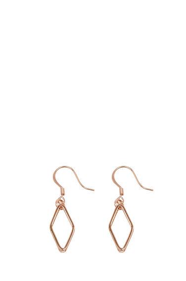Warehouse, GEO DIAMOND EARRINGS Copper Colour 0