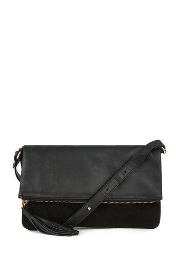 Warehouse, LEATHER AND SUEDE CROSSBODY Black 0