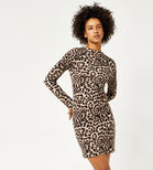 Warehouse, ANIMAL PRINT FUNNEL NECK DRESS Brown Print 1