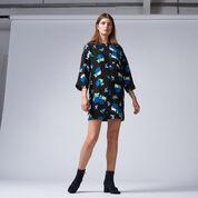 Warehouse, INK ROSE SHIFT DRESS Black 2