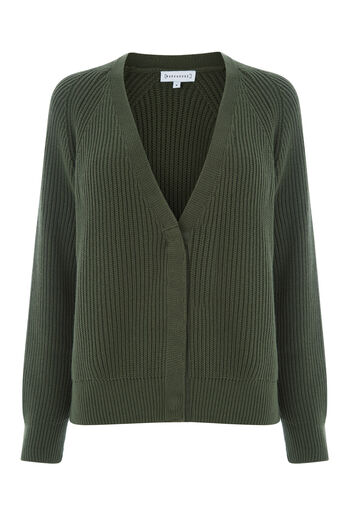 Warehouse, RIB POPPER CARDI Khaki 0