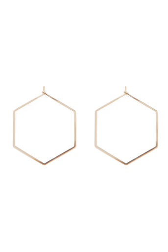 Warehouse, HEXAGON SHAPE EARRING Gold Colour 0
