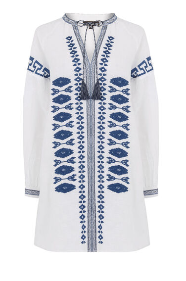 Warehouse, Linen Embroidered Tunic Neutral  Print 0