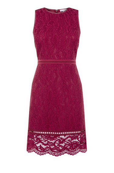 Warehouse, BONDED LACE SLEEVELESS DRESS Bright Red 0