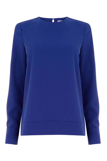Warehouse, DIPPED HEM TOP Bright Blue 0