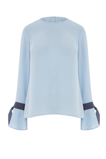 Warehouse, GROSGRAIN CUFF TOP Light Blue 0
