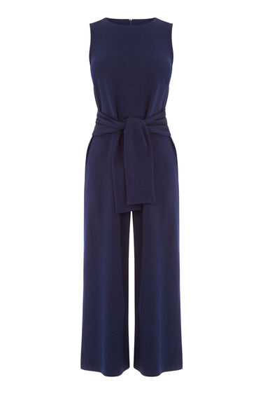 Warehouse, TIE FRONT CREPE JUMPSUIT Navy 0
