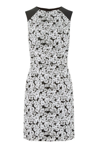 Warehouse, DAISY PRINT SLEEVELESS DRESS Black Pattern 0