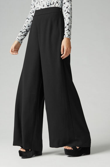 Warehouse, WIDE LEG TROUSER Black 1