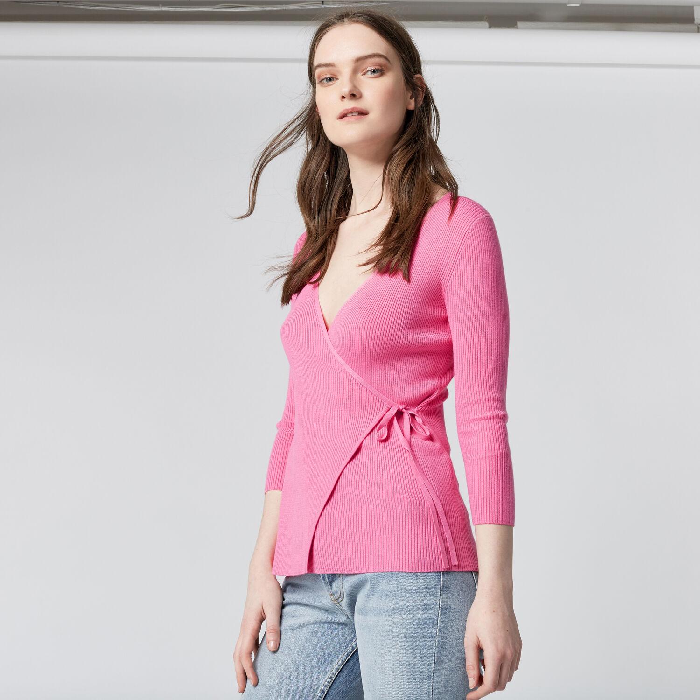 Warehouse, BALLET WRAP TIE SIDE JUMPER Bright Pink 1