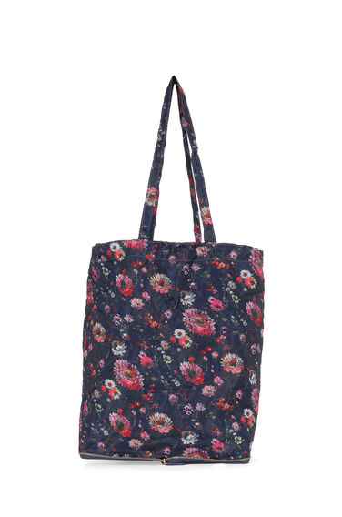 Warehouse, Zip Around Shopper Bag Blue Pattern 0