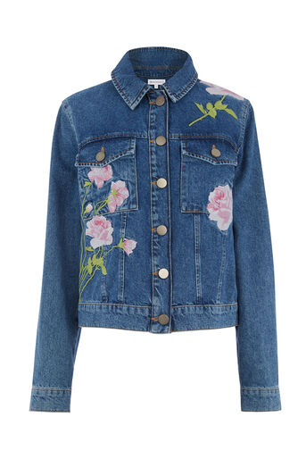 Warehouse, EMBROIDERED DENIM JACKET Mid Wash Denim 0