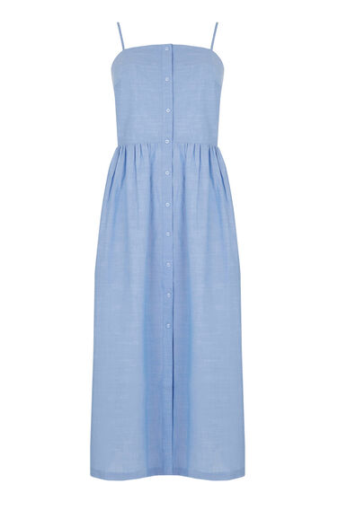 Warehouse, COTTON CAMI MIDI DRESS Light Blue 0